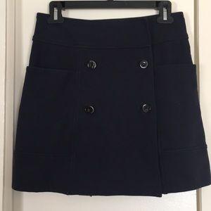 DVF Navy Button Mini Skirt